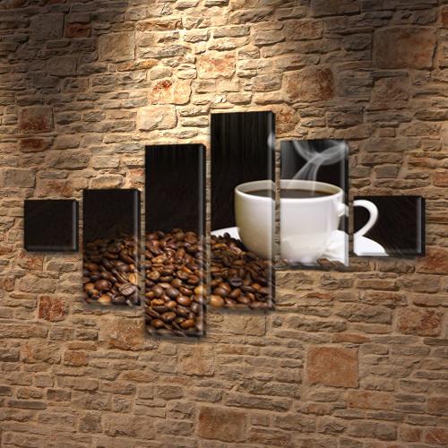 Картина  Чашка кофе на Холсте син., 75x120 см, (18x18-2/40х18-2/65x18-2)