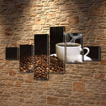 Картина  Чашка кофе на Холсте син., 75x120 см, (18x18-2/40х18-2/65x18-2), фото 2