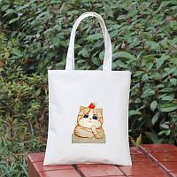 Женская летняя пляжная сумка CAT белого цвета