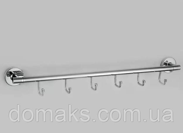 Вешалка на 6 крючков F 001 хром