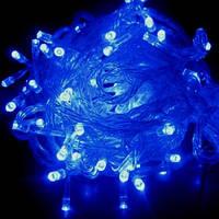 Синяя электрическая гирлянда, ламповая, 6 метров, 200 лампочек