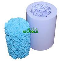Форма силиконовая Свеча в розах 3D Люкс