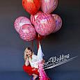 Повітряні латексні кулі супер агати павич червоний 45см, фото 4