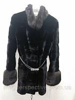 Шуба из норки Black Glama с соболем на воротнике и манжетах, фото 1
