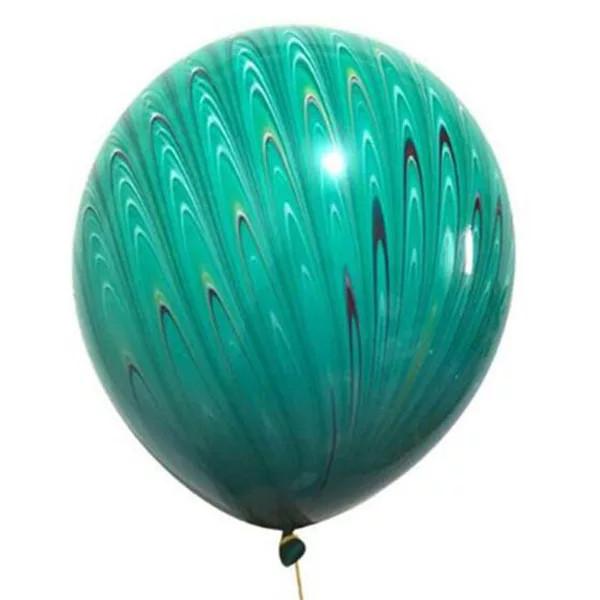 Повітряні латексні кулі супер агати павич зелений 45см
