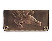 Кошелек, бумажник, портмоне мужской Gato Negro Крокодил Alligator Khaki ручной работы