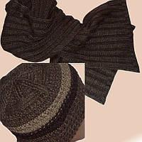 Мужская вязаная шапка на подкладке объемной вязки и шарф-петля