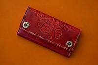 b411cb920f06 Клатч кожаный, кошелек, женский Gato Negro Alfa Big Turtle Red ручной работы