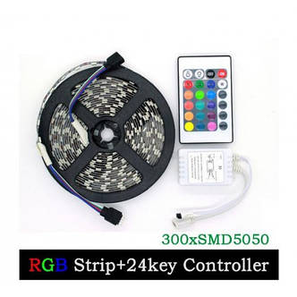Светодиодная лента SMD 3528 RGB 5м + пульт + блок, фото 2