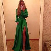 Платье в пол с длинным рукавом на широком манжете