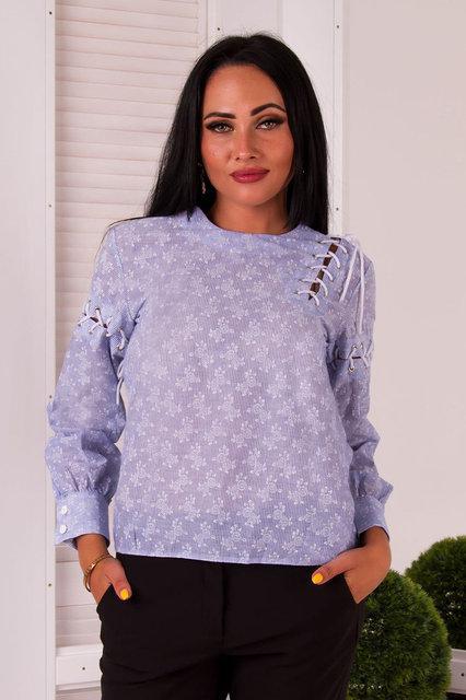 Рубашка женская коттоновая со шнуровкой (К23624)