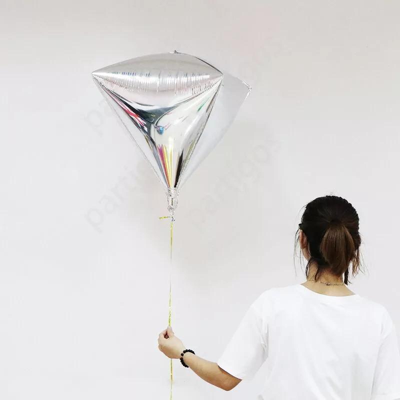 """Фольгований куля Алмаз 3D 24"""" срібло"""