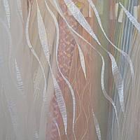 Тюль на метраж белая, рисунок вертикальная волна