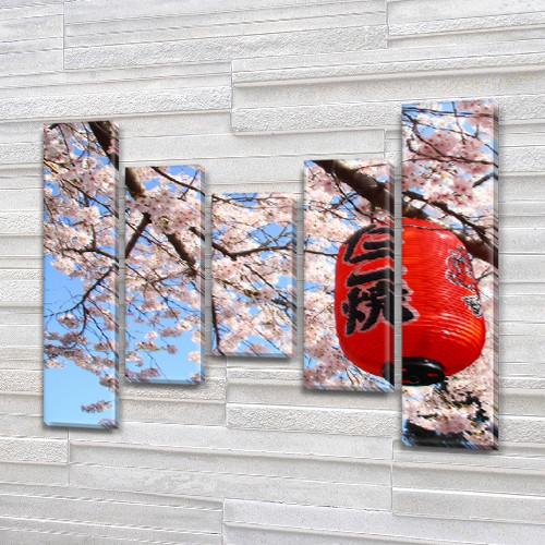 Картина на холсте модульная Японский фонарь  купить, 80x100 см, (80x18-2/55х18-2/40x18)