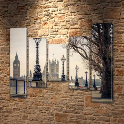 Триптих картина Тауэрские фонари  на Холсте син., 80x100 см, (80x18-2/55х18-2/40x18)
