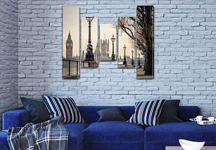 Триптих картина Тауэрские фонари  на Холсте син., 80x100 см, (80x18-2/55х18-2/40x18), фото 3