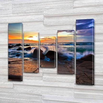 Купити картину модульную на Холсте син., 80x100 см, (80x18-2/55х18-2/40x18), фото 2