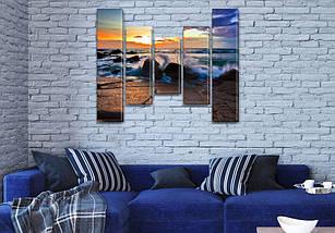 Купити картину модульную на Холсте син., 80x100 см, (80x18-2/55х18-2/40x18), фото 3