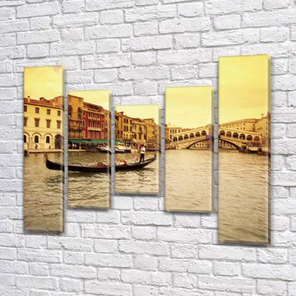 Картина  модульная Венецианский гондольер  на холсте  (80x18-2/55х18-2/40x18), фото 2