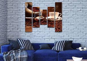 Модульная картина Кофе  на Холсте син., 80x100 см, (80x18-2/55х18-2/40x18), фото 3
