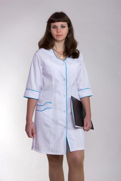 Женский медицинский халат белый 40-66