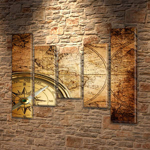Картина модульная Компас и карта , на Холсте син., 80x100 см, (80x18-2/55х18-2/40x18)