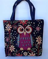 Летняя текстильная сумка для пляжа и прогулок Сова на ветке