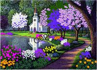Схема для вышивки лентами «Священный сад с храмом»