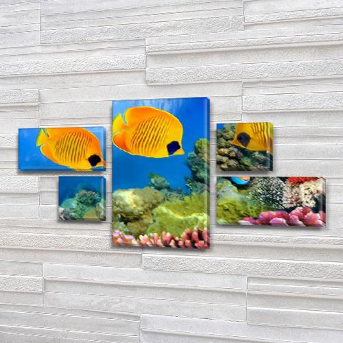 Купить модульную картину на Холсте син., 60x110 см, (18x35-2/18х18-2/60x35)
