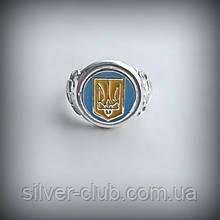 1027 Серебряное кольцо Патриот с желто-голубой эмалью