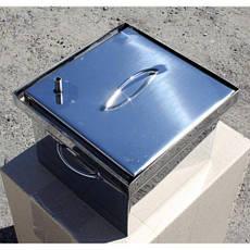 Коптильня с гидрозатвором для горячего копчения 2х ярусная из нержавеющей стали 300х300х200, фото 2