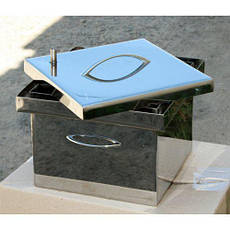 Коптильня с гидрозатвором для горячего копчения 2х ярусная из нержавеющей стали 300х300х200, фото 3