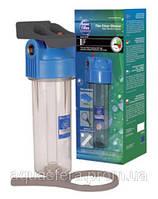 """10"""" Прозрачный усиленный натрубный корпус фильтра, с латунной резьбой 1"""" FHPR1-HP-WB."""