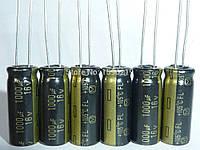 10x Конденсатор электролитический алюминиевый 1000мкФ 16В 105С