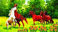 Схема для вышивки лентами  «Табун лошадей»