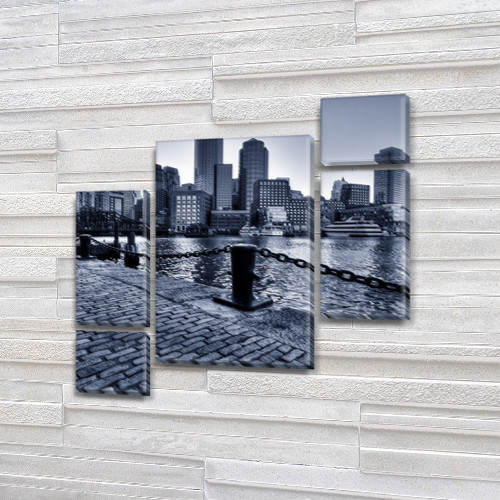 Картина модульная Мост с кирпичной кладкой на Холсте син., 85x85 см, (40x20-2/18х20-2/65x40)