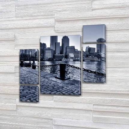 Картина модульная Мост с кирпичной кладкой на Холсте син., 85x85 см, (40x20-2/18х20-2/65x40), фото 2