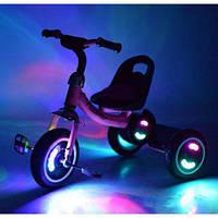 Трехколесный велосипед с подсветкой и музыкой M 3650-M1 для самостоятельной езды Pink