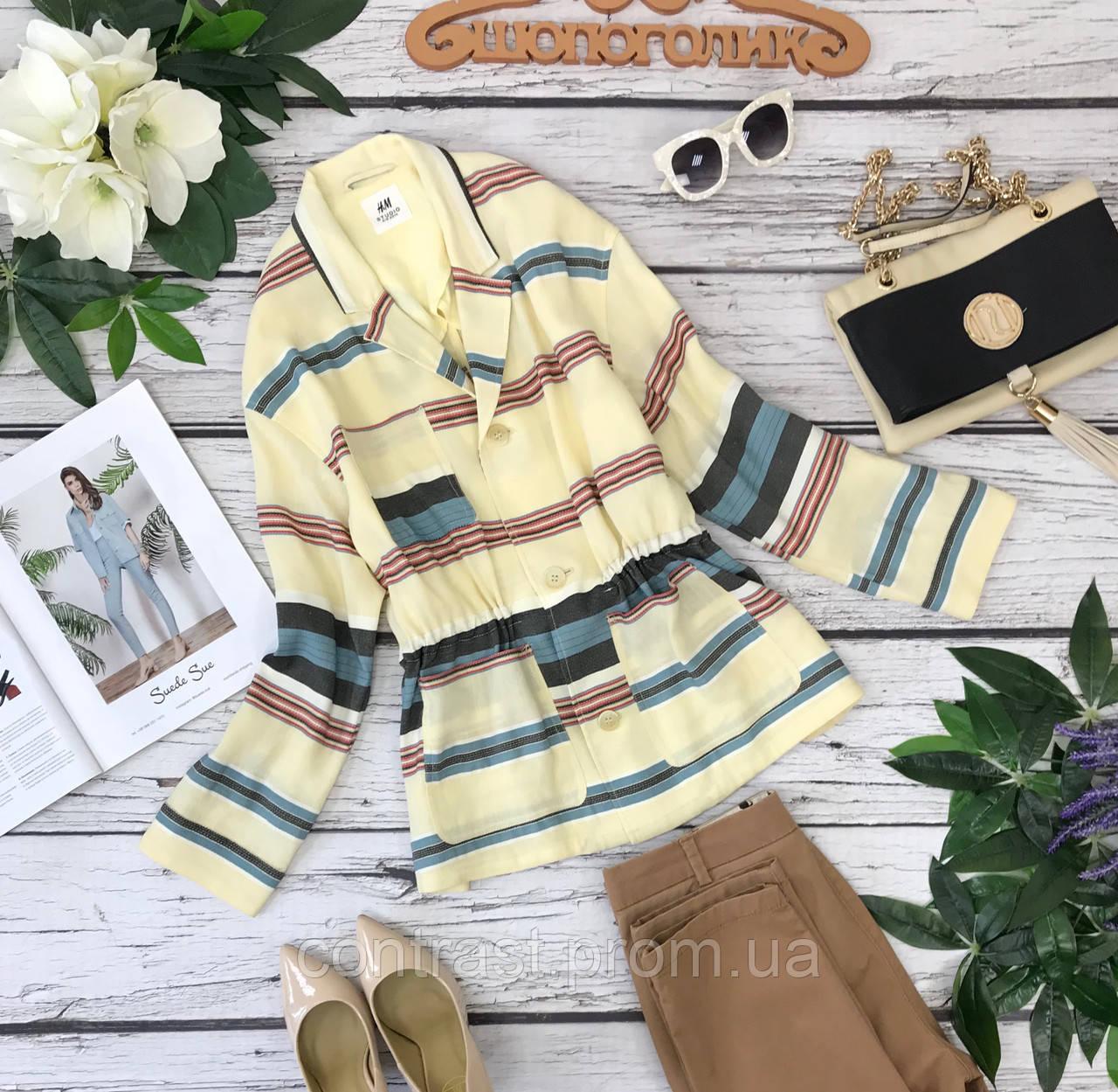 Яркий летний пиджак в разноцветную полоску с кулиской на талии 8/36/XS 10/38/S  JC1830141