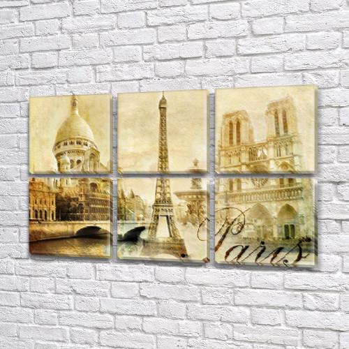 Картина  модульная Архитектура Парижа на холсте 52x80 см, (25x25-6)