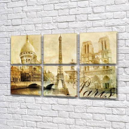 Картина  модульная Архитектура Парижа на холсте 52x80 см, (25x25-6), фото 2