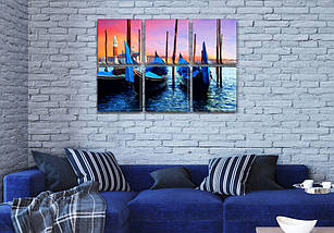 Модульная картина Закат Венеции  на Холсте син., 52x80 см, (25x25-6), фото 3