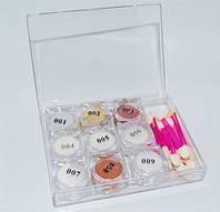 Набор зеркальной пудры для ногтей 9 цветов NZV-00