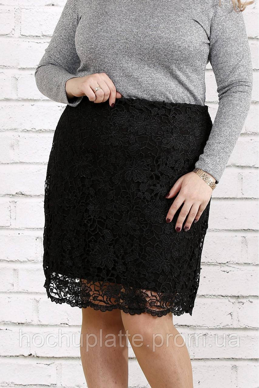 7e53cb3d547 Черная трикотажная юбка с макраме   0736-1  продажа