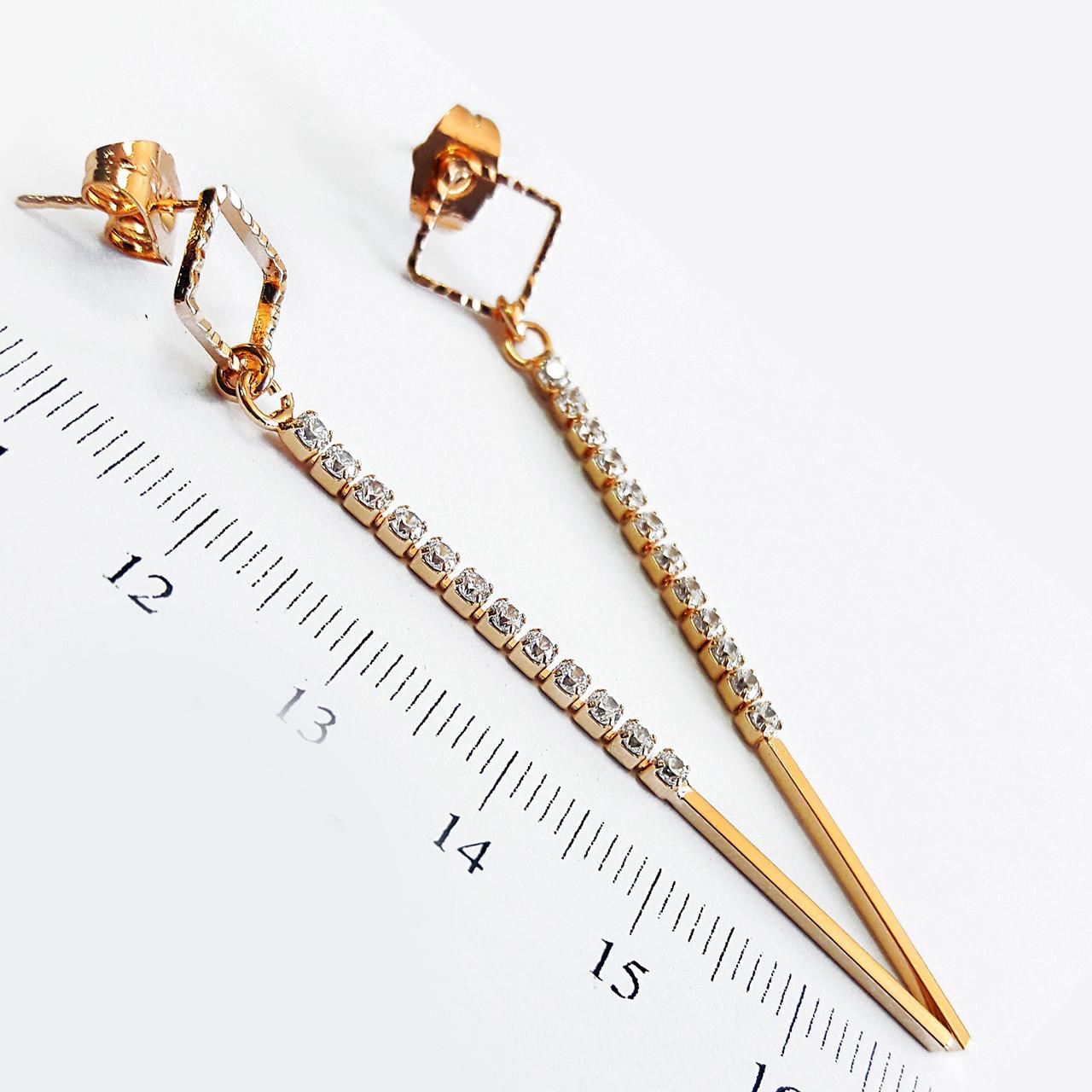 Серьги длинные позолота Xuping  6.5см с905