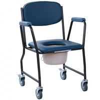 Стул санитарный кресло-туалет на колесах каталка с мягким сиденьем, фото 1
