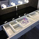 Макияжный столик с большим количеством секций, гримерный стол с навесным зеркалом, фото 4