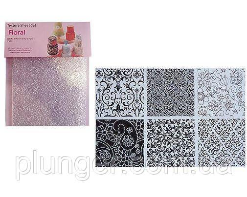 Набір текстурних матів для мастики з 6 шт