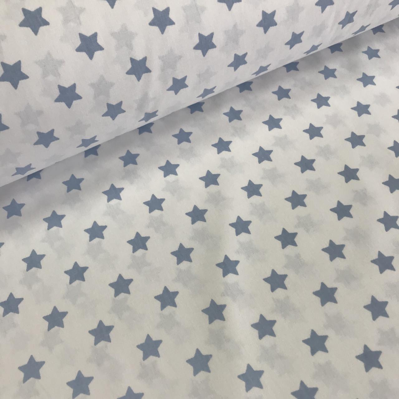 Ткань поплин, звезды средние голубые на белом (ТУРЦИЯ шир. 2,4 м) № 33-33