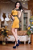 Женское трикотажные платье с декоративными плечами и поясом (0723-0724-0725 svt), фото 2